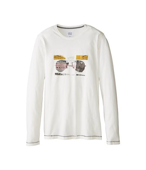 Armani Junior - Long Sleeve Sunglass Tee (Big Kids) (White) Boy