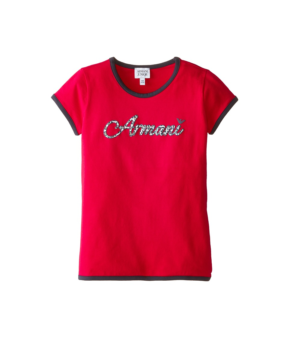 Armani Junior - Short Sleeve Tee w/ Leopard Contrast (Big Kids) (Red) Girl