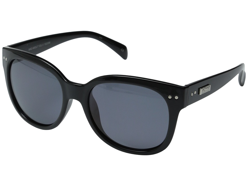 Le Specs - Mad About You (Black/Polarized Smoke) Fashion Sunglasses