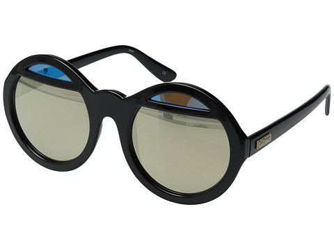 Le Specs - Hall Of Mirrors (Black/Gold Revo Mirror/Blue Brown) Fashion Sunglasses