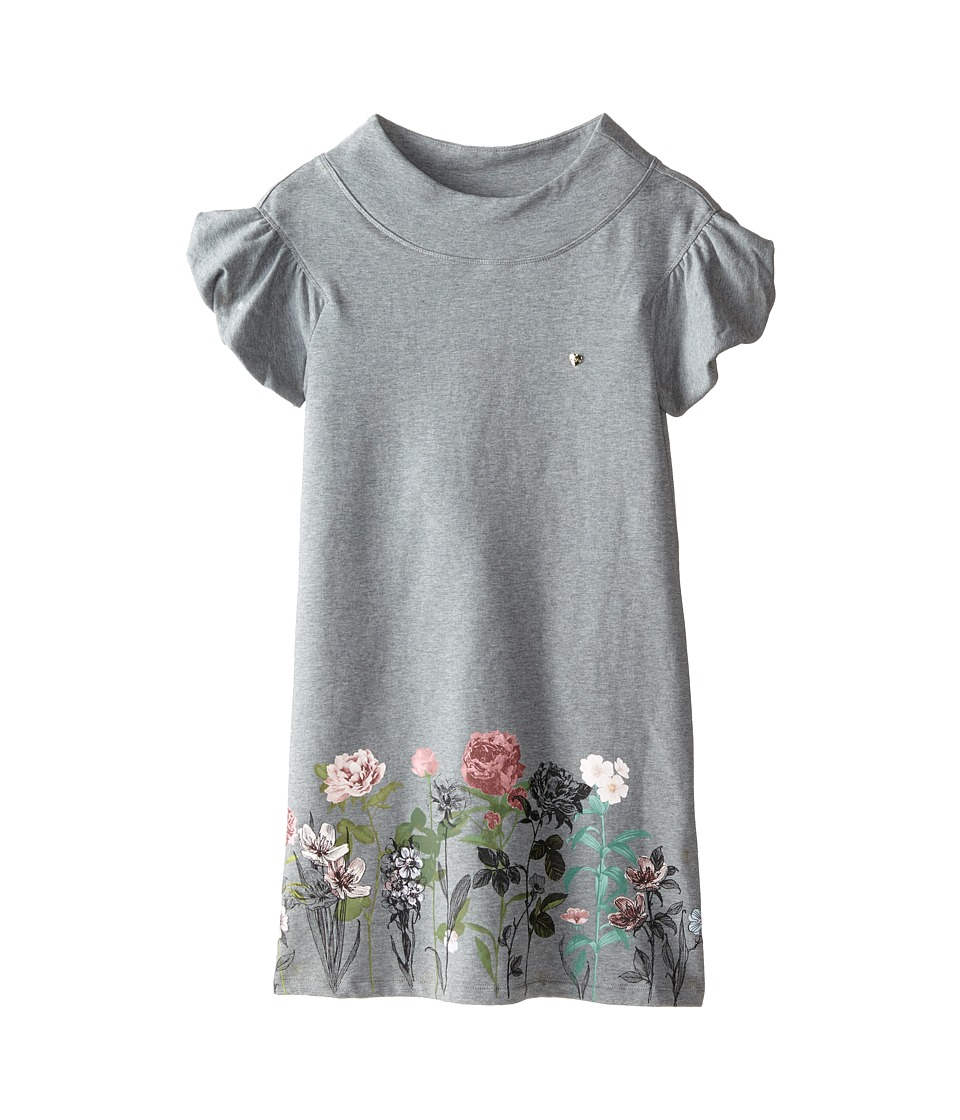 Armani Junior - Ruffle Sleeve Sweatshirt Dress w/ Floral Bottom (Big Kids) (Grey) Girl's Dress