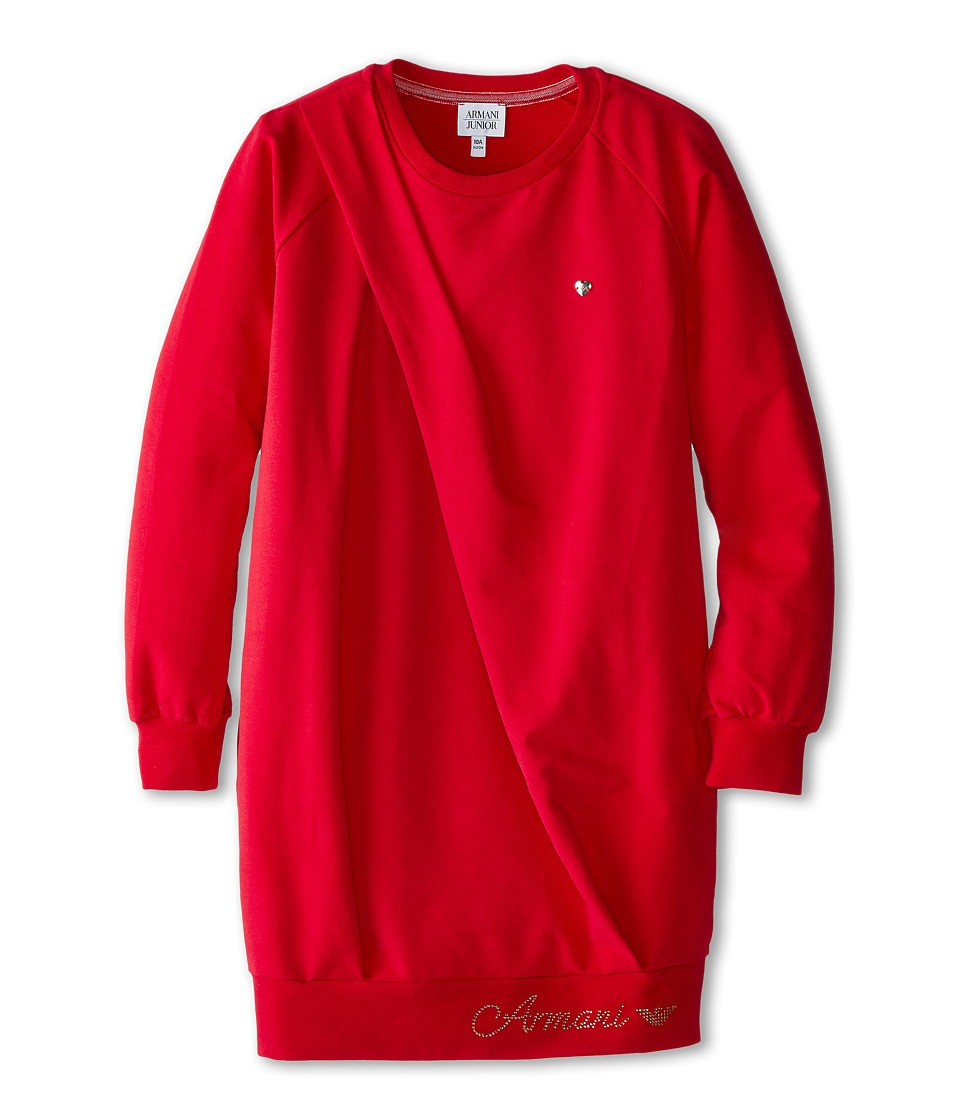 Armani Junior - Sweatshirt Dress w/ Side Shoulder Fold (Big Kids) (Red) Girl's Dress