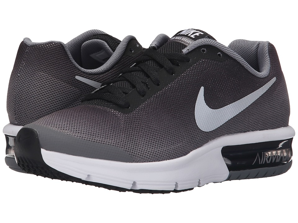 Nike Kids - Air Max Sequent (Big Kid) (Black/Wolf Grey/White/Metallic Silver) Boys Shoes