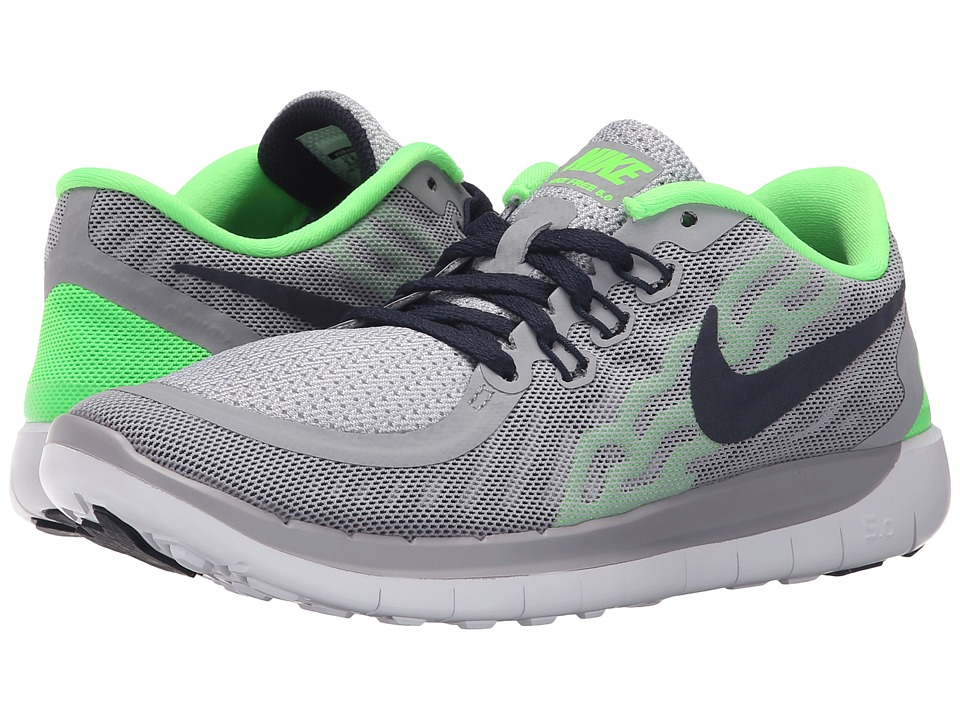 Nike Kids - Free 5.0 (Big Kid) (Wolf Grey/Voltage Green/White/Obsidian) Boys Shoes
