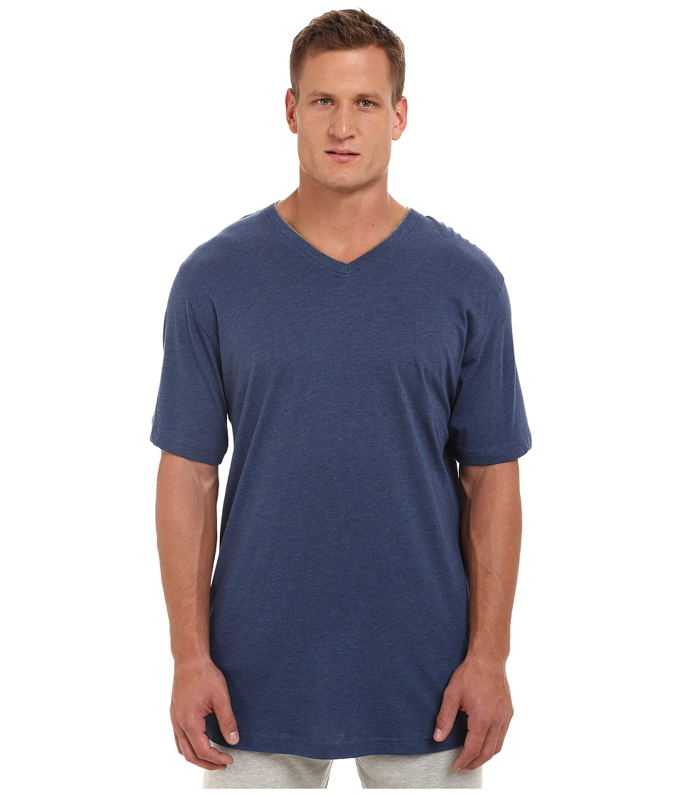 Tommy Bahama Big Tall Heather Cotton Modal Jersey Knit V-Neck Tee (Indigo Heather) Men