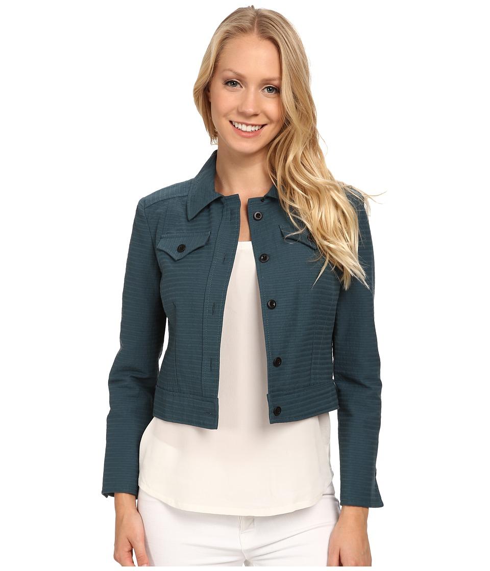 Anne Klein - Horizontal Seersucker Jean Jacket (Mallard Green) Women's Coat
