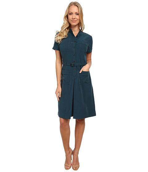 Anne Klein - Washed Linen Belted Dress (Mallard Green) Women