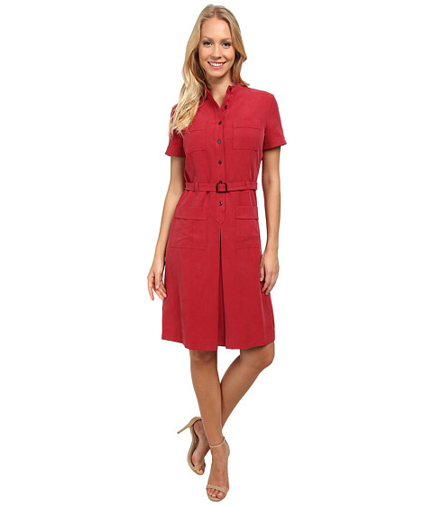 Anne Klein - Washed Linen Belted Dress (Barn Red) Women's Dress
