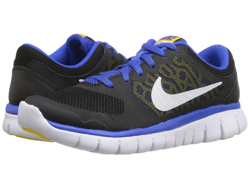 Nike Kids - Flex 2015 Run (Big Kid) (Black/Hyper Cobalt/Varsity Maize/White) Boys Shoes