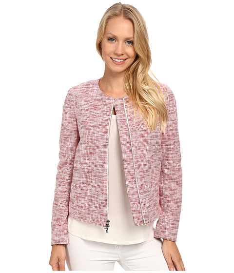 Anne Klein - Tweed Zip Front Jacket (Barn Red/White) Women's Coat