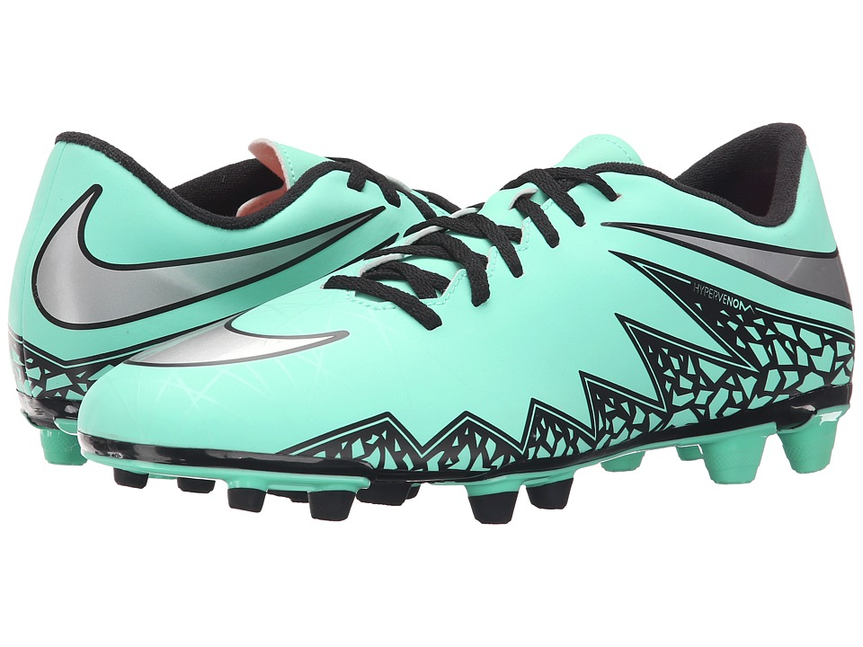 Nike - Hypervenom Phade II FG (Green Glow/Hyper Orange/Metallic Silver) Men's Soccer Shoes