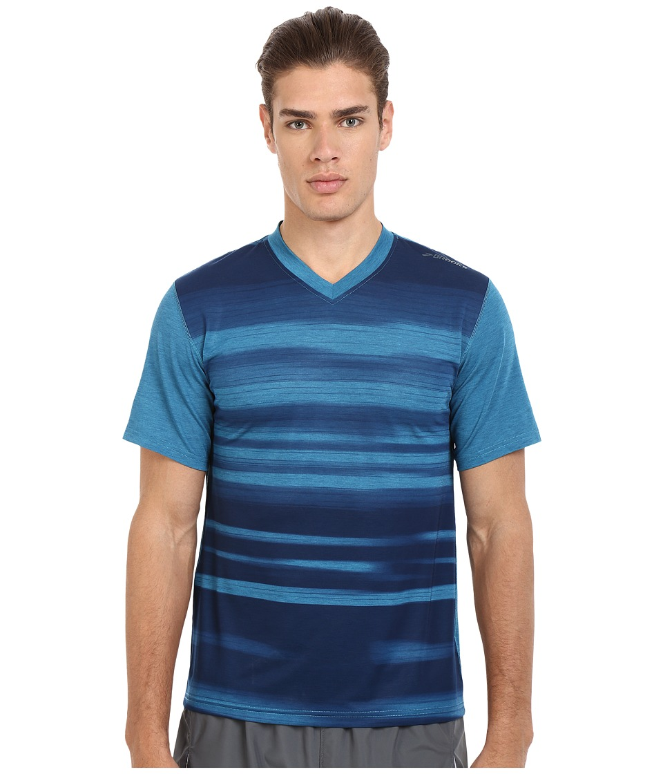 Brooks - Fly-By Short Sleeve Top (Heather River/Blur) Men's Short Sleeve Pullover