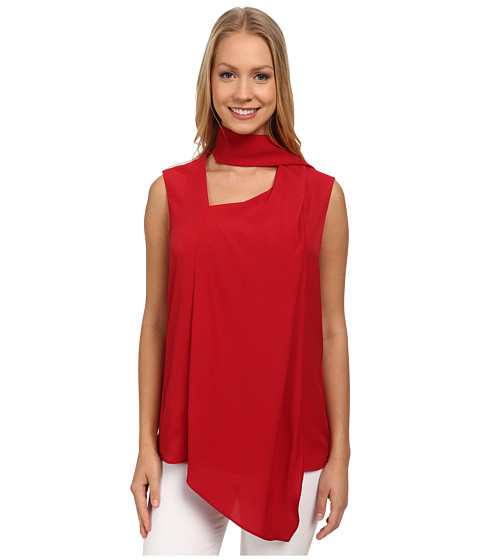 Anne Klein - Sleeveless Scarf Top (Barn Red) Women's Sleeveless