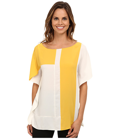 Anne Klein - Color Block Blouse (White/Goldenrod) Women's Blouse