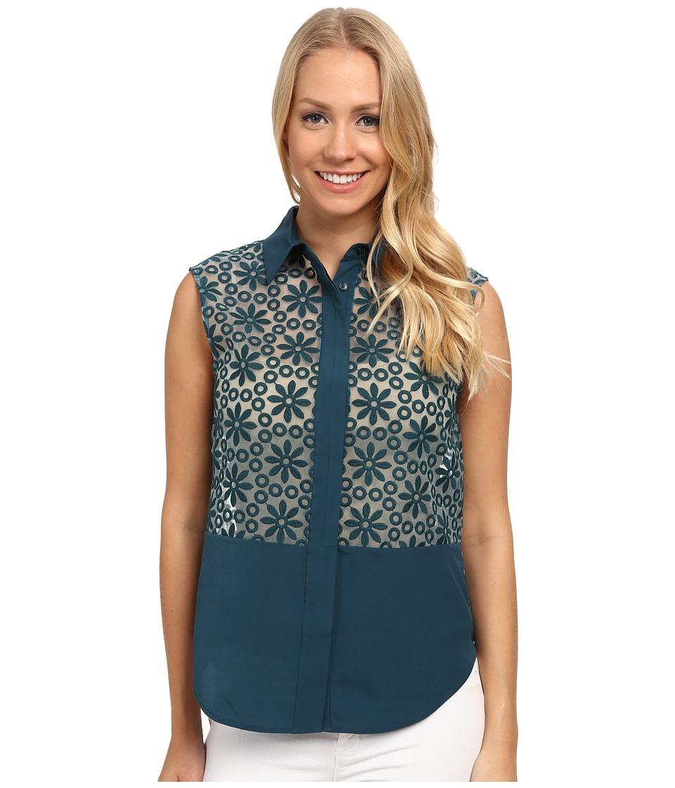 Anne Klein - Floral Lace Combo Shirt (Mallard) Women's T Shirt