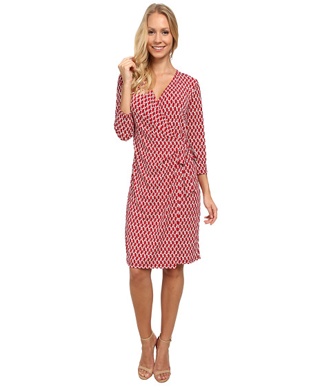 Anne Klein - Chain Link Wrap Dress (Red/White) Women's Dress