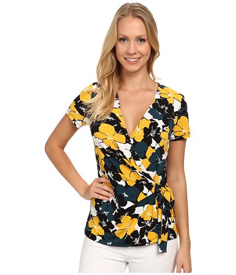 Anne Klein - Floral Multi Cap Sleeve Wrap Top (Mallard) Women's Clothing