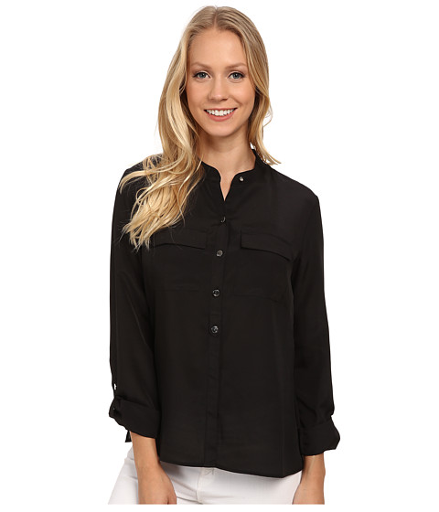 Anne Klein - Roll Sleeve Button Down Blouse (Black) Women