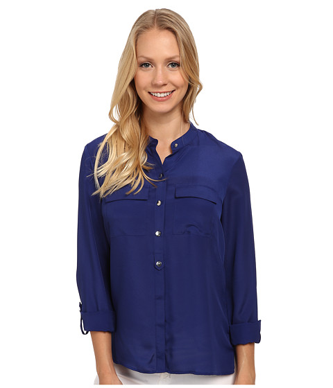 Anne Klein - Roll Sleeve Button Down Blouse (Ultra) Women