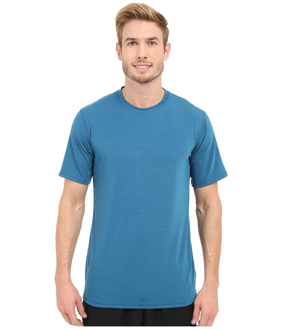 Brooks - Distance Short Sleeve (Heather River) Men's Short Sleeve Pullover