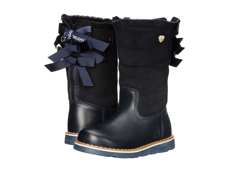 Armani Junior - High-Low Lined Boot w/ Back Bows (Toddler/Little Kid) (Navy) Girls Shoes