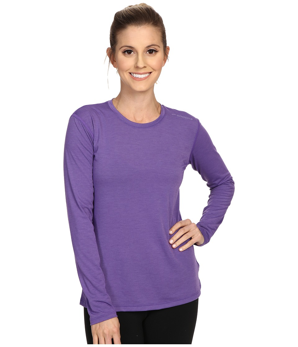 Brooks - Distance Long Sleeve Top (Heather Dusk) Women's Long Sleeve Pullover