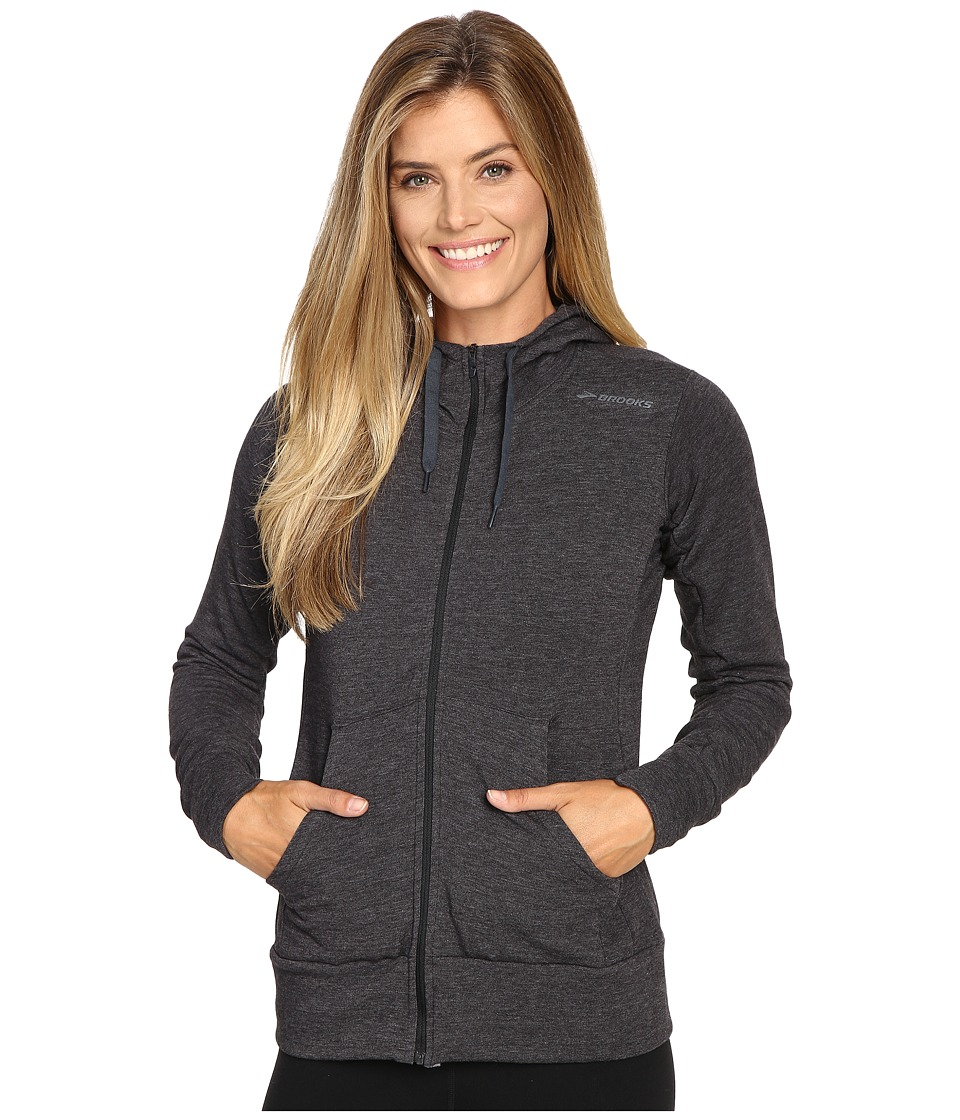 Brooks - Distance Hoodie (Heather Black) Women's Sweatshirt