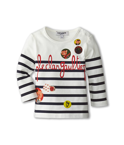 Junior Gaultier - Pop Striped Tee Shirt (Infant/Toddler) (Navy) Girl's T Shirt