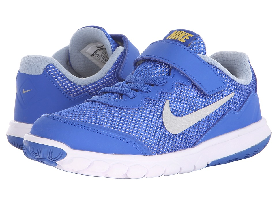Nike Kids - Flex Experience 4 (Little Kid) (Hyper Cobalt/Varsity Maize/Metallic Silver) Boys Shoes
