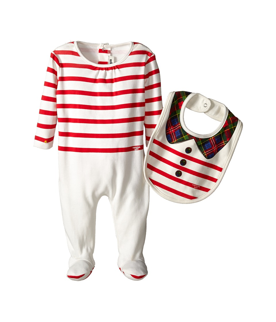 Junior Gaultier - Pastelle Striped Footie and Bib Gift Set (Infant/Toddler) (Ecru) Girl's Active Sets