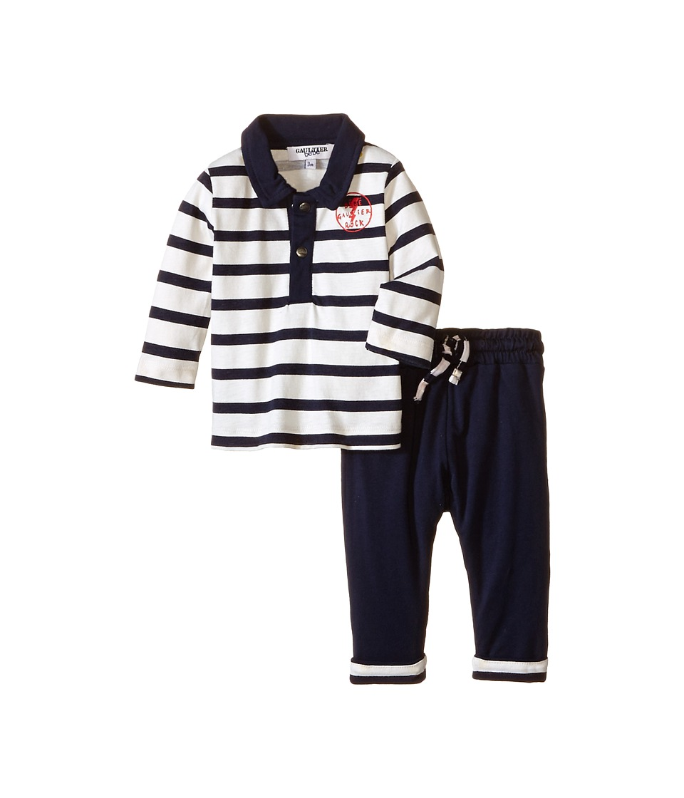 Junior Gaultier - Principe Striped Polo and Pants Set (Infant/Toddler) (Navy) Boy's Active Sets