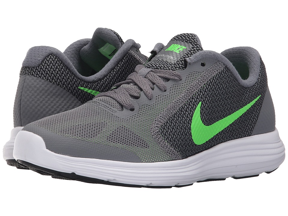Nike Kids - Revolution 3 (Big Kid) (Cool Grey/White/Black/Voltage Green) Boys Shoes