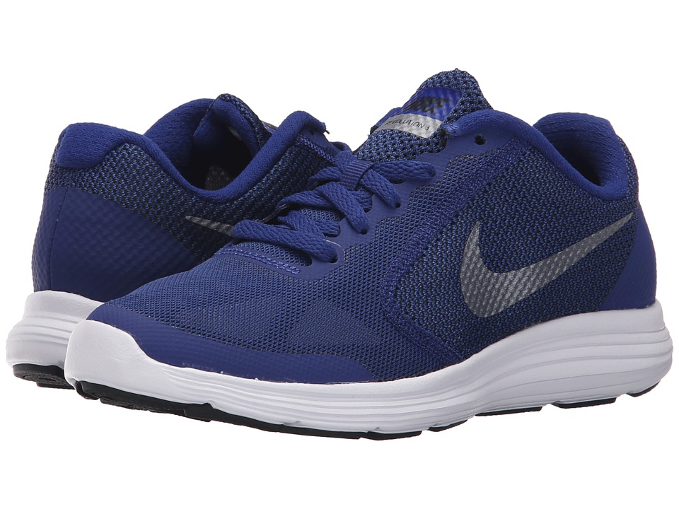 Nike Kids - Revolution 3 (Big Kid) (Deep Royal Blue/Black/White/Metallic Cool Grey) Boys Shoes