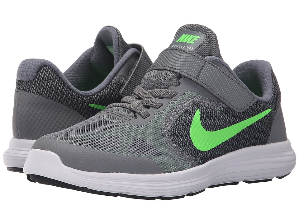 Nike Kids - Revolution 3 (Little Kid) (Cool Grey/White/Black/Voltage Green) Boys Shoes