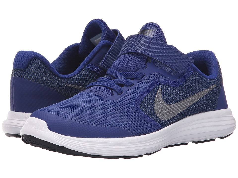 Nike Kids - Revolution 3 (Little Kid) (Deep Royal Blue/Black/White/Metallic Cool Grey) Boys Shoes