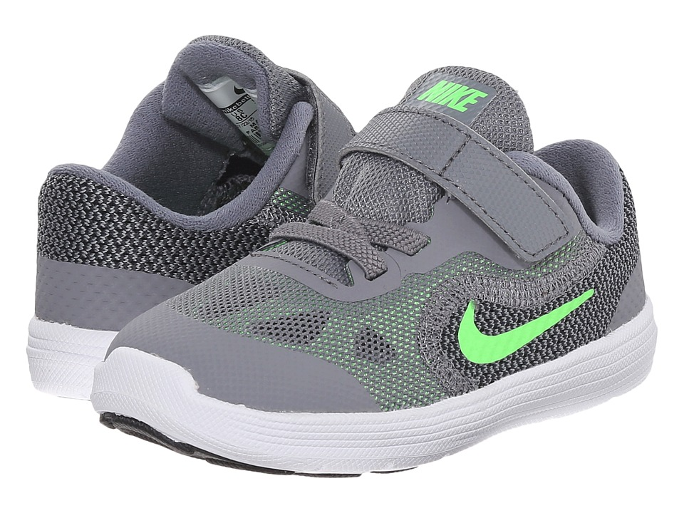 Nike Kids - Revolution 3 (Infant/Toddler) (Cool Grey/White/Black/Voltage Green) Boys Shoes