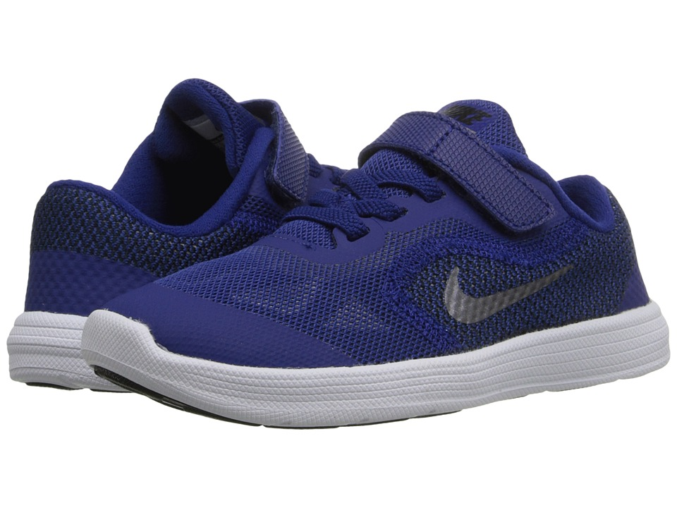 Nike Kids - Revolution 3 (Infant/Toddler) (Deep Royal Blue/Black/White/Metallic Cool Grey) Boys Shoes