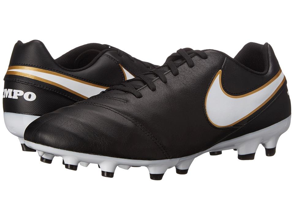 Nike - Tiempo Genio II Leather FG (Black/White) Men's Soccer Shoes