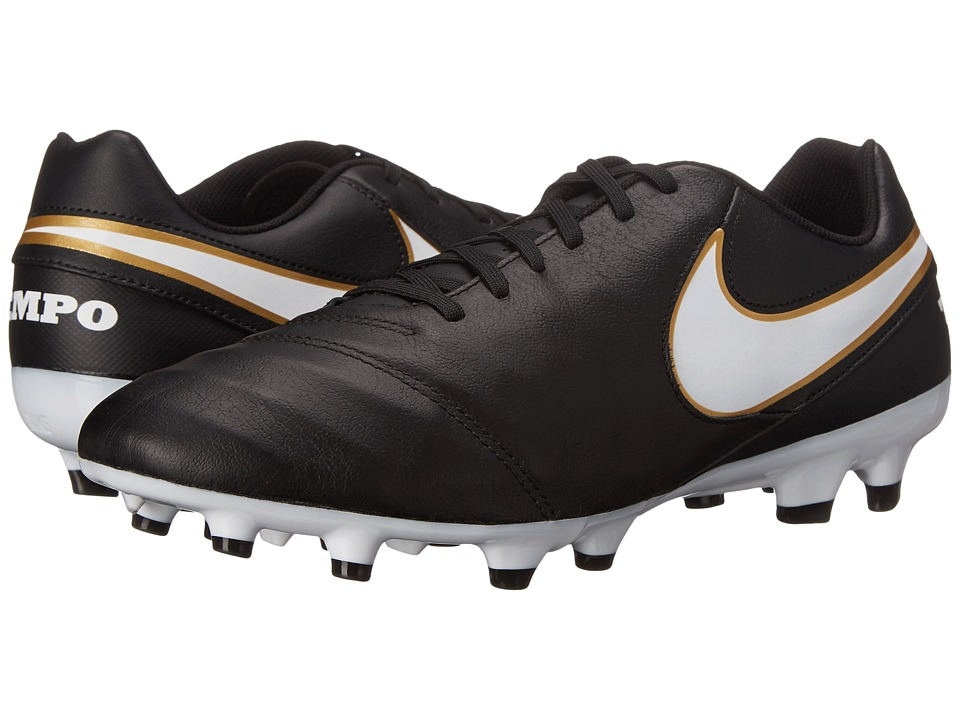 Nike Tiempo Genio II Leather FG Black-White Mens Soccer Shoes