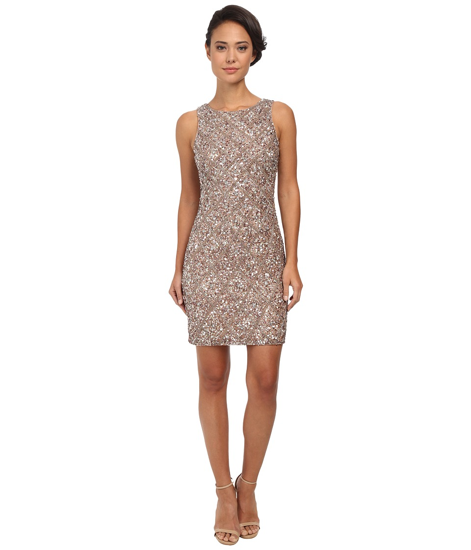 Adrianna Papell - Sleeveless Fully Beaded Cocktail Dress (Mink) Women