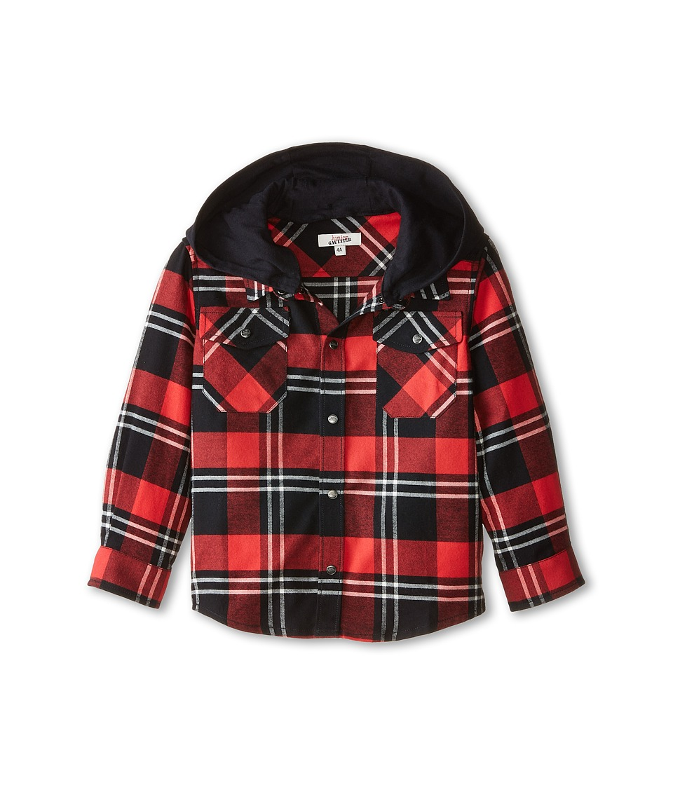 Junior Gaultier - Pax Plaid Check Shirt (Toddler/Little Kid) (Dark Red) Boy