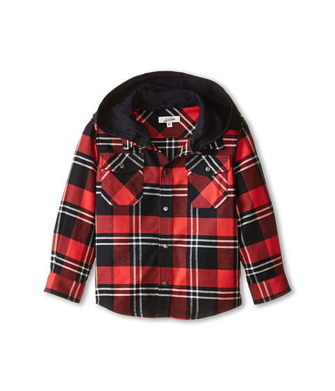 Junior Gaultier - Pax Plaid Check Shirt (Toddler/Little Kid) (Dark Red) Boy's Short Sleeve Knit