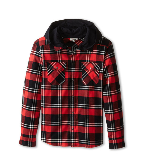 Junior Gaultier - Pax Plaid Check Shirt (Big Kid) (Dark Red) Boy's Short Sleeve Knit