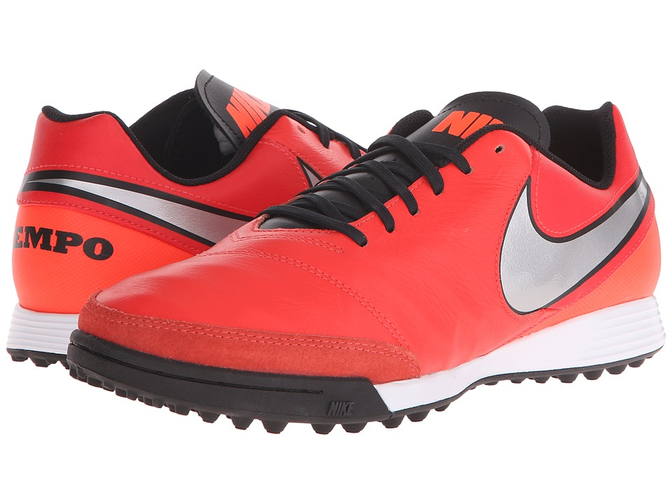 Nike - Tiempo Genio II Leather TF (Light Crimson/Total Crimson/Metallic Silver) Men's Soccer Shoes