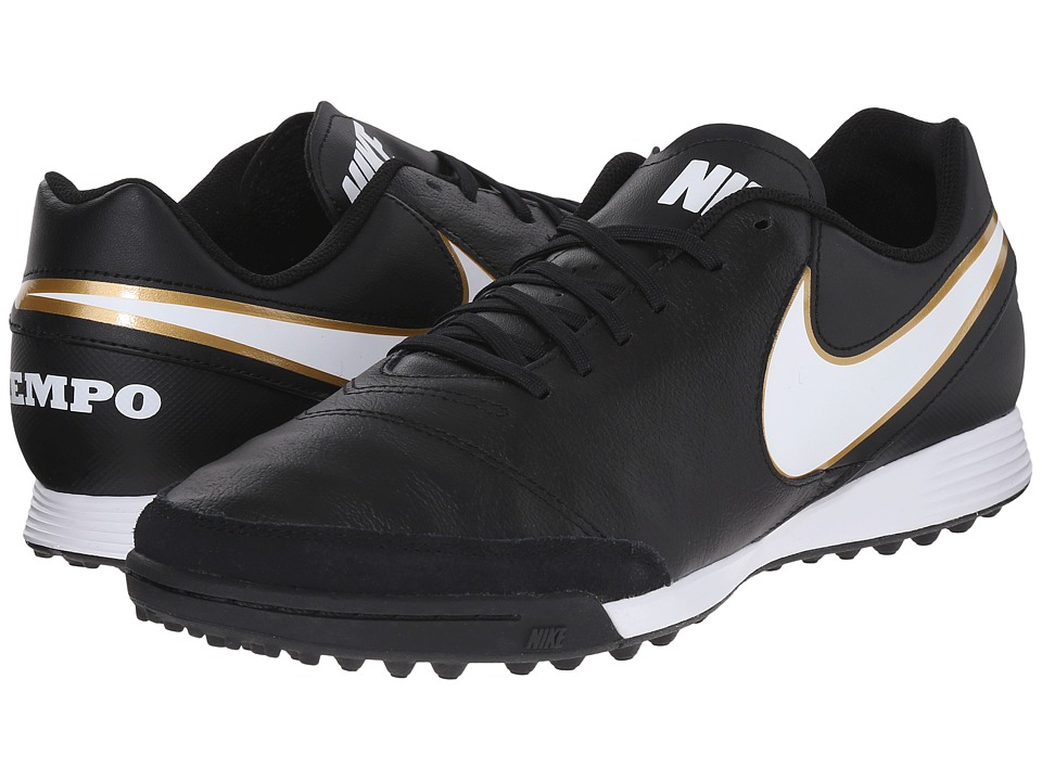 Nike - Tiempo Genio II Leather TF (Black/White) Men's Soccer Shoes