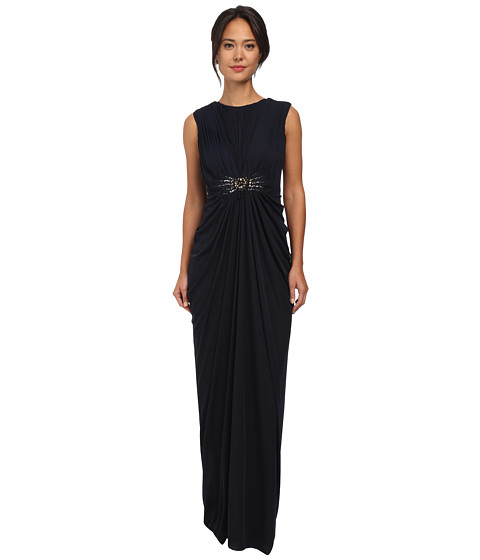 Adrianna Papell - Cap Sleeve Stretch Tulle Gown (Ink) Women