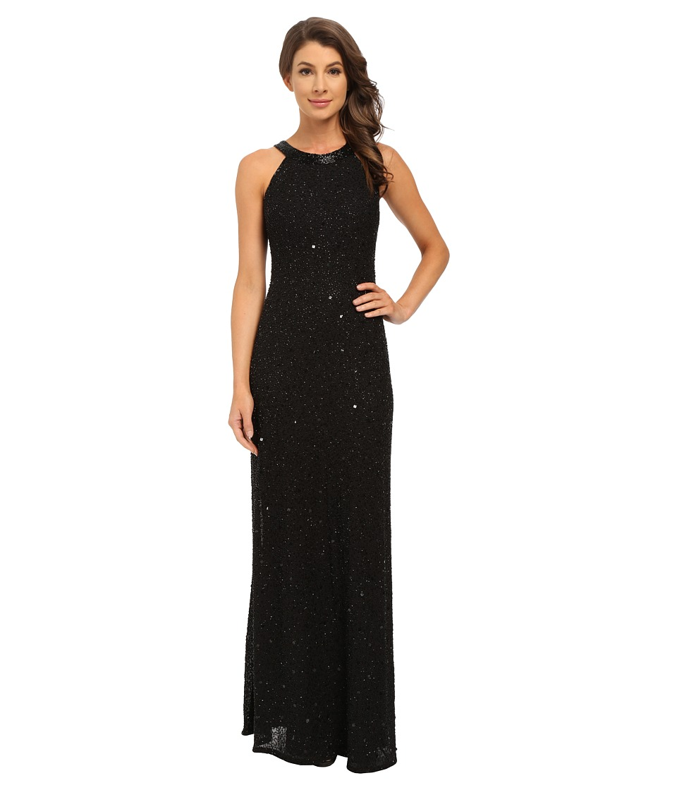 Adrianna Papell Caviar Sheer Back Gown (Black) Women