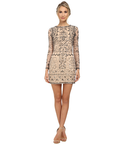 Adrianna Papell - Long Sleeve Beaded Cocktail Dress (Light Blush) Women