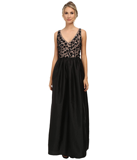 Adrianna Papell - Sleeveless Beaded Taffeta Gown (Black) Women's Dress