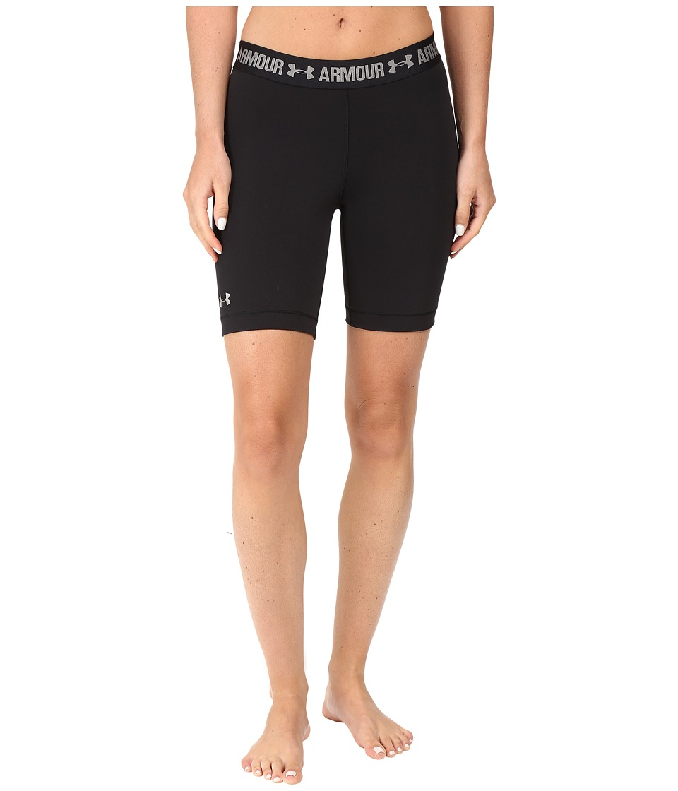 Under Armour - HeatGear(r) Armour 7 Long Shorts (Black/Black/Metallic Silver) Women's Shorts